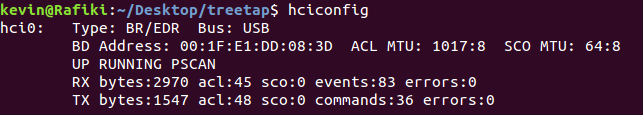 hciconfig output